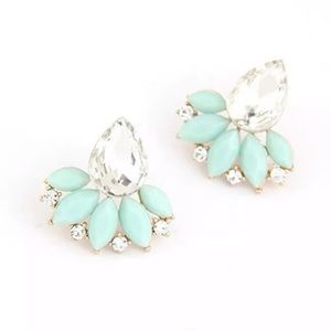 Turquoise Stud Crystal Earrings Statement Classy